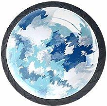 Cabinet Dresser Knobs Indigo Tie-Dye 4 Pcs Drawer