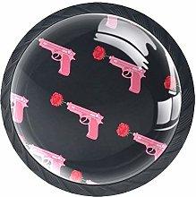 Cabinet Dresser Knobs Pink Gun with Roses Round