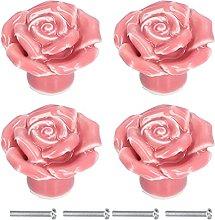 Cabinet Handle, 4 Set Rose Shaped Wardrobe Handle