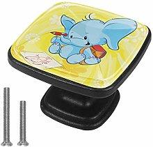 Cabinet Knob Cartoon Blue Elephant Dresser