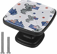 Cabinet Knob Cartoon Raccoon Flag Dresser Cupboard