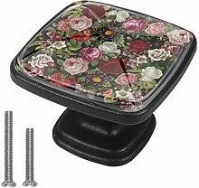 Cabinet Knob Colored Roses Dresser Cupboard Drawer