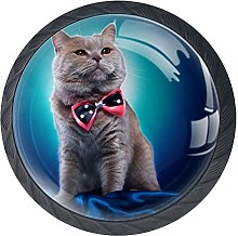 Cabinet Knobs Creative Cat with Bow Tie Blue Knobs