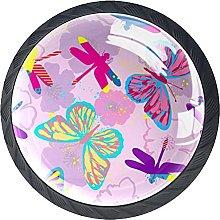 Cabinet Knobs Dresser Drawer Knobs Pink Dragonfly