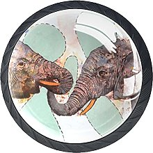 Cabinet Knobs,Elephant Art Nursery Painting Gold