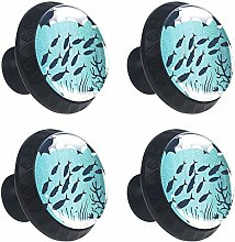 Cabinet Knobs Flock of Fish Shadow with Ornaments