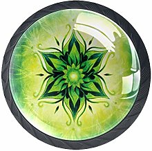 Cabinet Knobs Green Psychedelic Floral Drawer