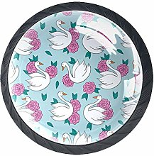 Cabinet Knobs Happy Swan with Pink Flower Pattern