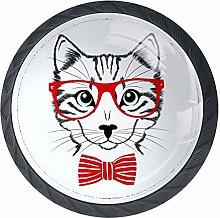 Cabinet Knobs Hipster Cat with Redes Knobs for