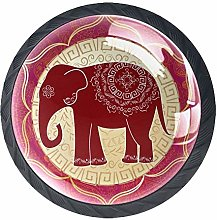 Cabinet Knobs Indian Elephant with Mandalas Floral