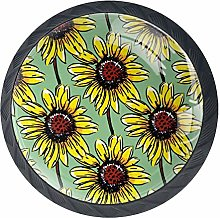 Cabinet Knobs Painted Sunflowers Pattern Blooming