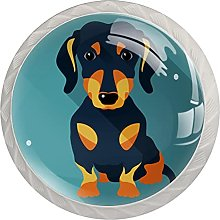 Cabinet Knobs Pulls Animal Dog Round Crystal Glass