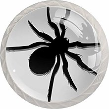 Cabinet Knobs Pulls Black Spider Round Crystal