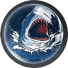 Cabinet Knobs Pulls Blue Shark Round Crystal Glass