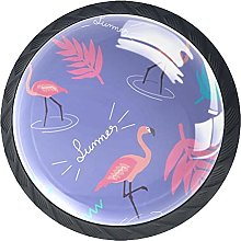 Cabinet Knobs Pulls Cartoon Flamingo Round Crystal