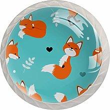 Cabinet Knobs Pulls Cartoon Fox Round Crystal