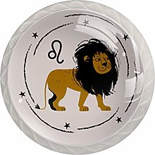 Cabinet Knobs Pulls Cartoon Lion Round Crystal