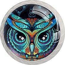 Cabinet Knobs Pulls Cartoon Owl Round Crystal