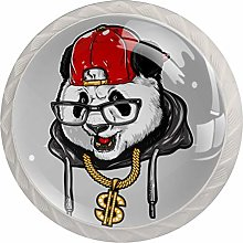 Cabinet Knobs Pulls Cartoon Panda with Golden