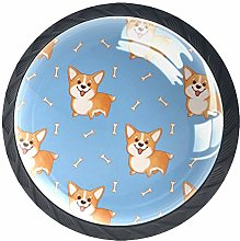 Cabinet Knobs Pulls Cute Corgi Round Crystal Glass