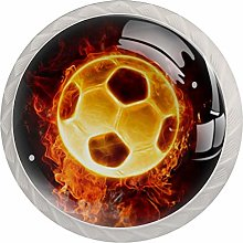 Cabinet Knobs Pulls Flame Soccer Round Crystal
