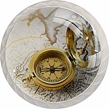 Cabinet Knobs Pulls Golden Clock Round Crystal