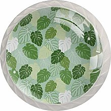 Cabinet Knobs Pulls Green Leaves Round Crystal