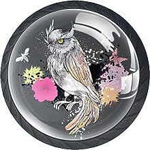 Cabinet Knobs Pulls Owl Flower Round Crystal Glass
