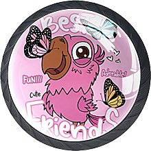 Cabinet Knobs Pulls Pink Bird Round Crystal Glass