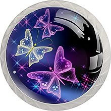 Cabinet Knobs Pulls Purple Butterfly Round Crystal