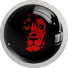 Cabinet Knobs Pulls Red Lion Round Crystal Glass