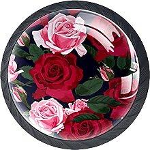 Cabinet Knobs Pulls Rose Flower Round Crystal