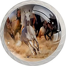 Cabinet Knobs Pulls Running Horses Round Crystal