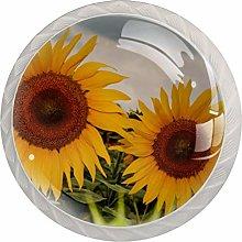 Cabinet Knobs Pulls Sunflower Round Crystal Glass