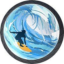 Cabinet Knobs Pulls Surfer Blue Round Crystal