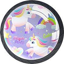 Cabinet Knobs Pulls Unicorn Rainbow Round Crystal