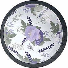 Cabinet Knobs Purple Flowers Pattern White Knobs