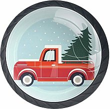 Cabinet Knobs Red Truck with Pine Tree Knobs for
