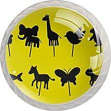 Cabinet Knobs Round Drawer Pulls 4 pcs Animal