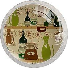 Cabinet Knobs Round Drawer Pulls 4 pcs cat Drinks