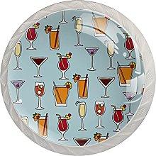 Cabinet Knobs Round Drawer Pulls 4 pcs Drinks