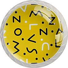 Cabinet Knobs Round Drawer Pulls 4 pcs Letter