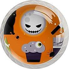 Cabinet Knobs Round Drawer Pulls 4 pcs Orange for