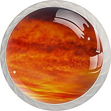 Cabinet Knobs Round Drawer Pulls 4 pcs Orange Sky