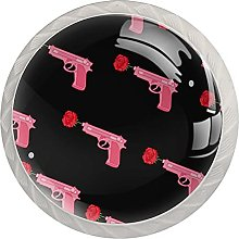 Cabinet Knobs Round Drawer Pulls 4 pcs Pink Girl