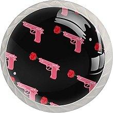 Cabinet Knobs Round Drawer Pulls 4 pcs Pink Gun