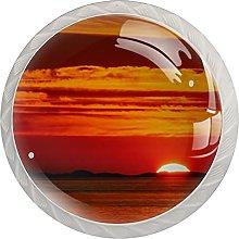 Cabinet Knobs Round Drawer Pulls 4 pcs Sunset