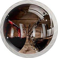 Cabinet Knobs Round Drawer Pulls 4 pcs Wine Drinks