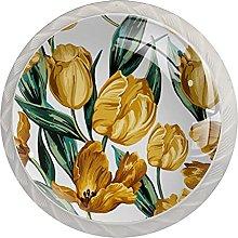Cabinet Knobs Round Drawer Pulls 4 pcs Yellow