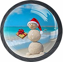 Cabinet Knobs Sand Snowman with Santa Hat and